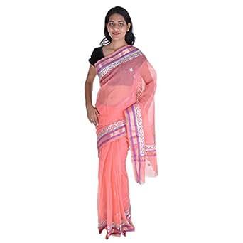 Fab Rajasthan Kota doria saree with Gota patti hand work (BS129_Pink)