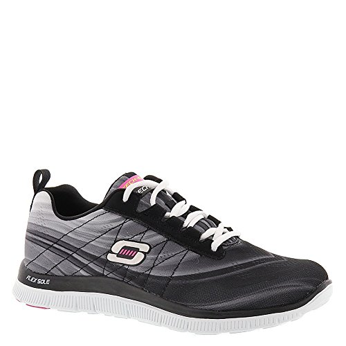 Skechers Flex Appeal Whirlwind, Chaussures de Running Compétition femme Black White