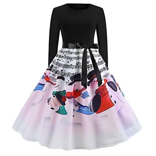 Weihnachten Kleid,Hepburn-Stil Partykleid Slim Fit Abendkleid Cocktailkleid Langarm Resplend Abend Party Große Swing Dress Vintage A-Linie Panel Kleid