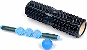 Faszienrolle Massageball Foam Roller Set - 45cm 4-in-1 Trigger Point Faszienrolle Wirbelsäule mit Fazienrolle Massage roller, Massage Ball, und Igelball Fußmassage Roller zum Faszientraining