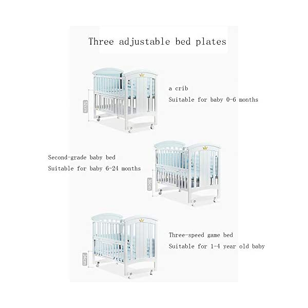 QINYUN Crib Baby Cradle Bed With Roller Solid Wood Multi-function Game Bed QINYUN 1. European classic bed type smooth curved corners: noble and elegant curved bed head polished many times without edges and corners to avoid baby scratches and scratches. 2. Crown decoration: cute crown three-dimensional decoration, I heard that both the prince and the princess like it. 3. Pacifier material anti-mite: the same material as the nipple, hardened, moderate hardness, care for the baby's young gums. 5