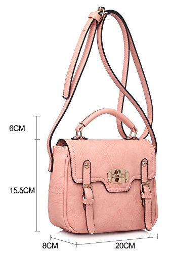 Big Handbag Shop, piccola fibbia effetto patta Maniglia Superiore Borsa Chic Beige (BH103)