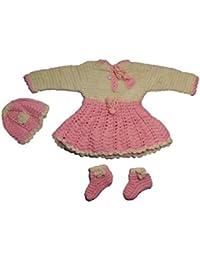 CutiePie Collections Handmade Woollen Sweater Cum Frock Set (0-6 Month Baby)