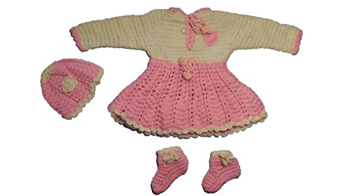 Cutiepie Collection Handmade Woolen frock Sweater with cap and socks for baby girl(0-9 month baby girl)