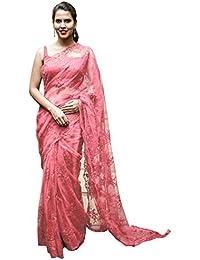 Swara Fashion Women's Nylon Net Multi Work Saree(SFA-3231-C_Peach)
