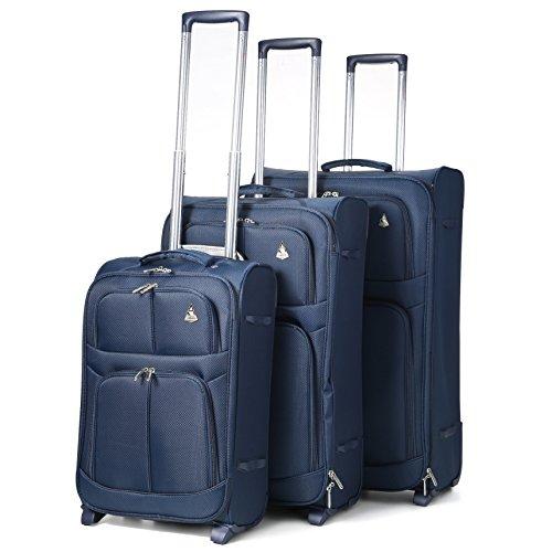 Aerolite Leichtgewicht 2 Rollen Trolley Koffer Kofferset Gepäck-Set Reisekoffer Rollkoffer Gepäck, 3 Teilig , Marineblau