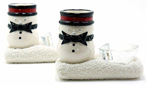 Yankee Candle Jackson Frost Teelichthalter, Weihnachten, Schneemann, Weihnachtsdekoration, 2 Stück