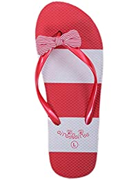 Airee Fairee Chanclas Mujer para Playa y Piscina Rayas Naúticas Rojo EU 38-39