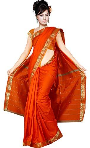 The Fabrics Station Designer Art Indien Fait à la Main en Soie Saree Sari Wrap pour Partywear, Mariage, Soirée, Événement, Fête, Tenues de soirée, vêtements Traditionnels - 26 Couleurs  Orange