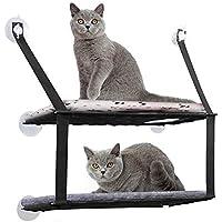 DADYPET Cama Gato, Hamaca Gato Ventana 6 Ventosas Resistentes Ahorrar Espacio MAX. Load Capacity 12kg (Negro)