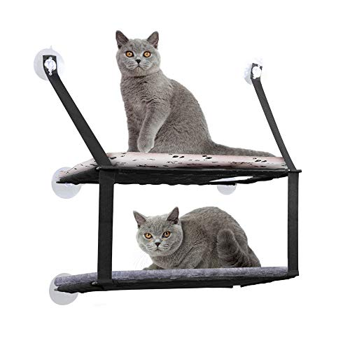 DADYPET Cat Bed, Hammock Cat Window 6 Resistant Suction Cups Save MAX Space. Load Capacity 12kg (Black)