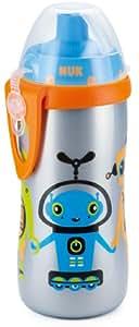 NUK 10255176 Flexi Cup 300 ml Soft-Trinkhalm-Becher mit Silikon-Trinkhalm, auslaufsicher, BPA-frei, silber
