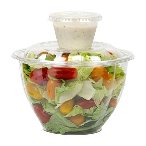 Fit Meal Prep [50 + 60 Pack 48 Oz BPA frei freie Plastikschüssel Mit Domdeckeln 4 Oz Dressing Sauce Cup Combo Für Salate Obst Parfaits, Wegwerfprodukt, Large Size 48 Unzen + 4 Unzen (4 Oz In Cups)