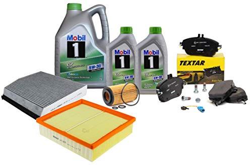 Kit Tagliando Filtri Mahle, pastiglie freno anteriori 2486901 + olio motore Mobil ESP 5W-30 7 litri MB W176 W245 W242