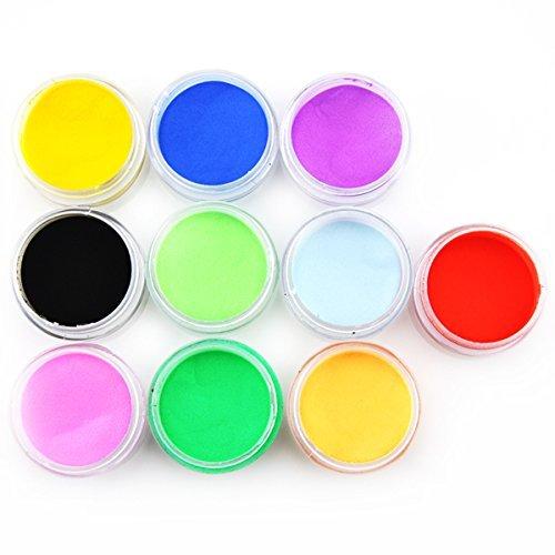 10 couleurs Professional Nail Art acrylique Nail Art peinture en poudre (10 grammes de chaque couleur) pour Nail Art Design avec don gratuit 1pc de Nail Art Sticker #285