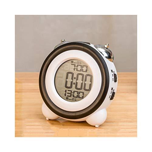 Unbekannt Wecker Batteriebetrieben for schwere Schläfer Snooze Nachtlicht Digital Electronic Twin Bell Portable Home Schlafzimmer Nacht Kids Student (Color : C, Size : 12cm*7cm*12cm) (Batteriebetrieben Duale Wecker)