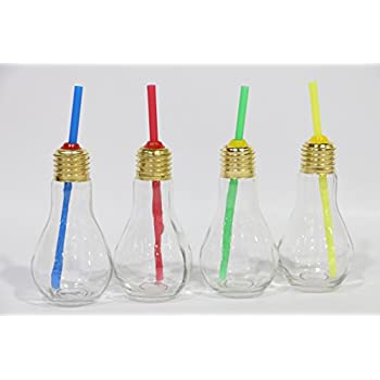 Godskitchen Glass Food Grade Light Bulb Shape Jar, 3-inch(Clear) Set of 4