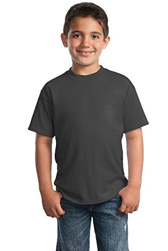 Port & Company® - Youth Core Blend Tee. PC55Y Charcoal M