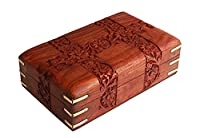 Charming Hand Carved Wooden Decorative Trinket Jewellery Box (15.2 X 10.2 X 6.4) Cm With Floral Carvings & Brass Corners