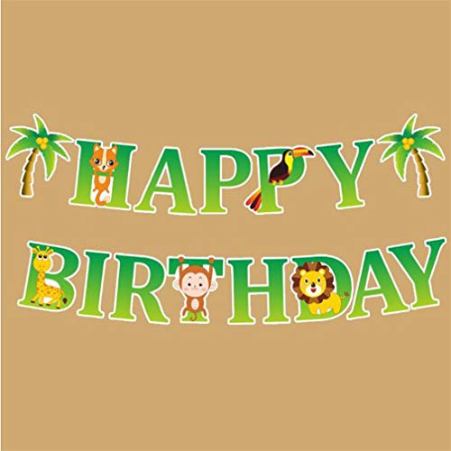 (LJSLYJ Cartoon Tier Happy Birthday Party Banner Dschungel Safari Party Bunting Flags Girlanden Decor, 1#)