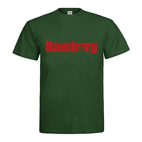 MDMA T-Shirt Hamburg Wappen N14-mdma-t00314-256 Textil bottlegreen / Motiv rot Gr. S