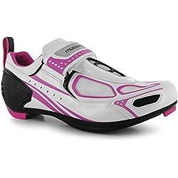 Zapatillas de ciclismo Muddyfox TRI100, para mujer, impermeables, con paneles superiores de malla, color Blanco, talla 39