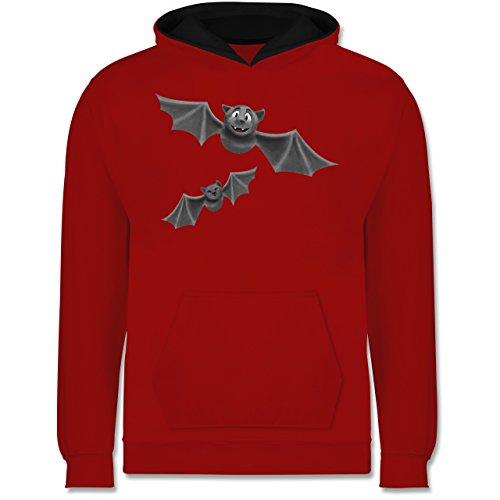 (Shirtracer Tiermotive Kind - süße Fledermäuse - 9-11 Jahre (140) - Rot/Schwarz - JH003K - Kinder Kontrast Hoodie)