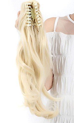 Haarteil Zopf Pferdeschwanz zum anklipsen Haarverlängerung Pony in der Farbe Bleichmittel Blond NEU