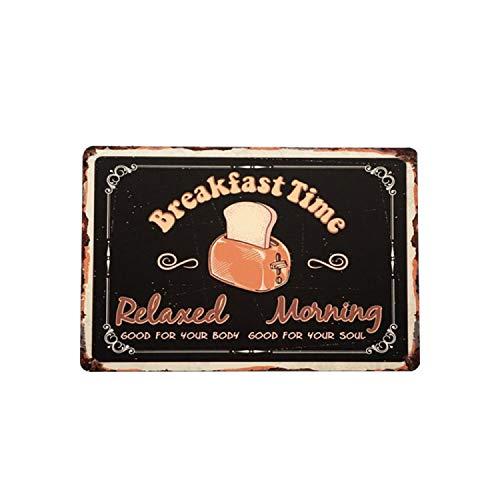 Hilarytt Blechschild, 30,5 x 20,3 cm, für Zuhause, Bad und Bar Breakfast Time
