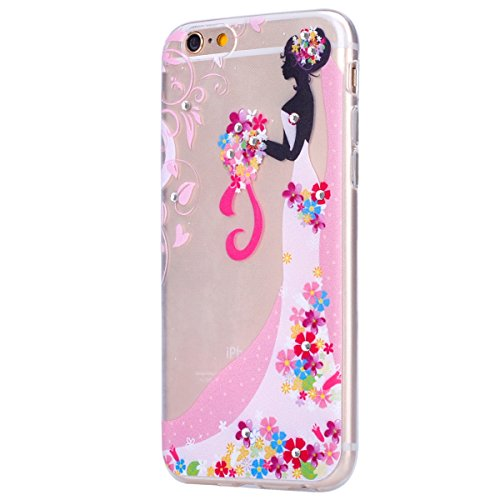 iPhone 7 Plus Hülle,iPhone 7 Plus Cover,JAWSEU Schön Henna Blume Blatt Muster Klar Weich Crystal Clear Soft Transparent Ultradünn Silikon Handyhülle Schutzhülle Etui Tasche Durchsichtig Tpu Backcover  Braut