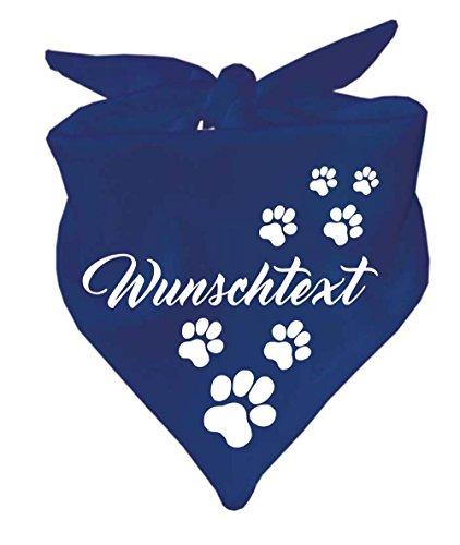 Hunde Dreiecks Halstuch (Fb: navy) mit Ihrem Wunschtext