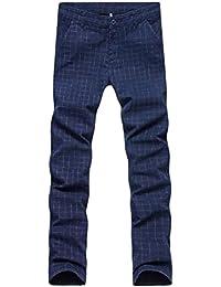 EKU Men's Plaid Slim Fit Mid-Rise Waist Straight Trousers