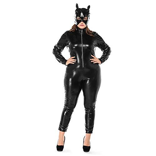 HGUIAZ Damen Catsuit Overall PU Leder Catwomen Bodysuit Mit Neu Fett Menschen Kostüm Schick Kleid Zum Erwachsene Geeignet Zum Cosplay Karneval Halloween Liebhaber Geschenk,Black-XL