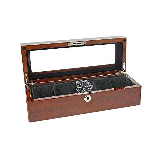 Augusta Augusta Uhrenbox Holz Uhrenkoffer Bubinga Holz für 5 Uhren