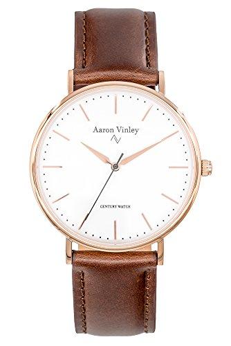 AARON VINLEY Bergen weiß Rosegold 40mm Bauhaus Stil Armbanduhr analog minimalistisch Lederarmband...