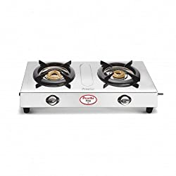 Preethi Fino Stainless Steel 2-Burner Gas Stove, silver