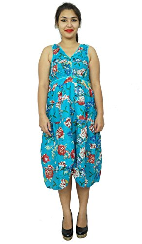 Aus reiner Baumwolle Sommer Abnutzung Sundress Ethnic Floral Frauen Kleid Tunika Blau