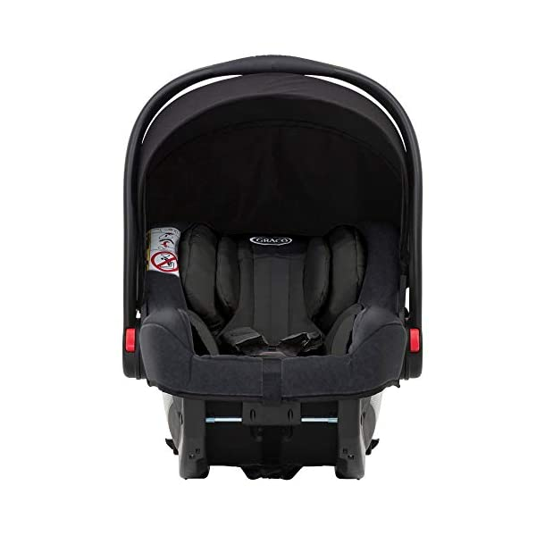 Garco Evo Pushchair and Luxury Carrycot, Black/Grey with SnugRide iSize Infant Car Seat, Midnight Black Graco Versatile pushchair with reversible seat that can lie flat Carrycot suitable from birth to approximately 6 months Rear-facing car seat for infants, suitable from birth up to 15 months (40-87cms) 4