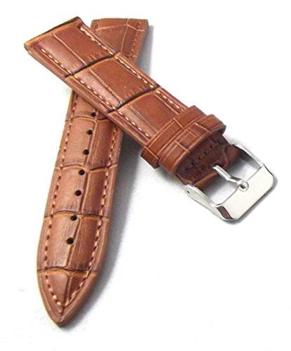 20 mm Uhrenarmband XL extra lang braun Alligator-Prägung Uhren Armband