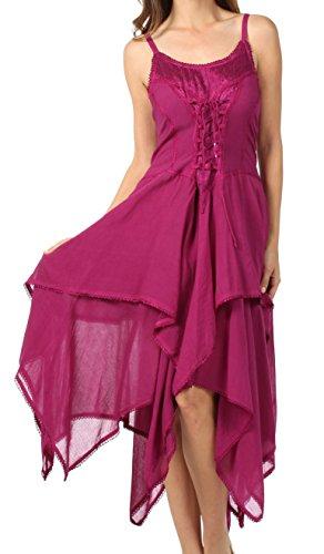 Sakkas Lady Mary Jacquard Corsetto Cappotto stile leggero abito da fazzoletto Hem Magenta