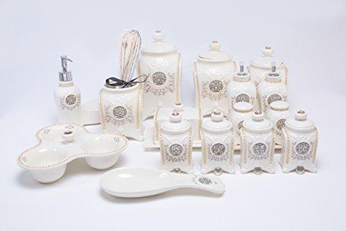 18 tlg. Porzellanservice Porzellan set Vorratsdosen Kaffeedose Gewürzdose Neu