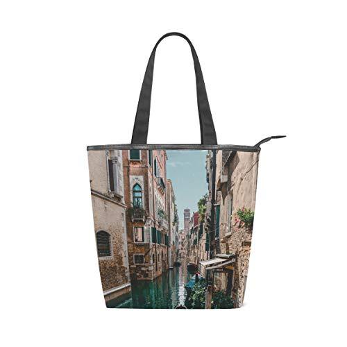 LAZEN Stilvolle Leinwand Tote Bag Handtasche 14 x 4,5 x 15 Zoll cute water city