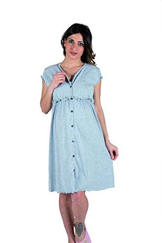 Premamy - Klinisches Shirt für Mutterschaft, offene Front Kleid, Zwei-Wege-Stretch-Baumwolle, prä-Post-Partum - Grau - III (S)
