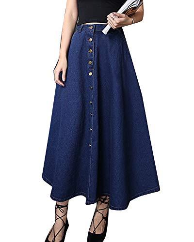 LaoZanA Femme Jupe en Jean Rétro Élégante Jupe Maxi Longue Évasée Plissée  Jupe Bleu Foncé S b79344c3c0ef