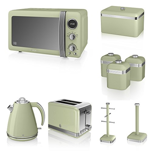 Swan Green Kitchen Appliance Retro Set Of 9 - Green Retro Digital Microwave, 20 Litre, 800 Watt, 1.5 Litre Jug Kettle & Retro Stylish 2 Slice Toaster Retro Bread Bin, 3 Canisters, Towel Pole And 6 Mug Tree Set