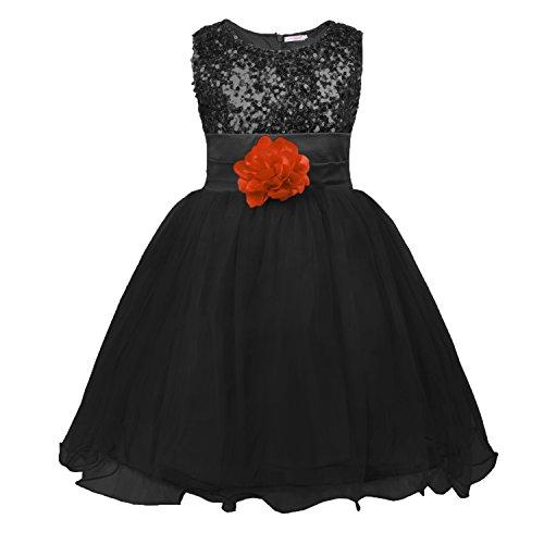 Schwarze Kleine Kinder Kleid (JerrisApparel Kleines Mädchen Paillette Blume Hochzeit Bankett Party Kind Kleid (5 Jahren, Schwarz))