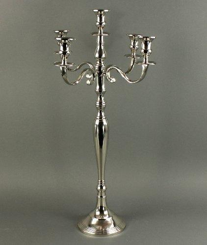 DAFLOXX 78cm KERZENLEUCHTER IN Silber 5-FLAMMIG HOCHWERTIG VERNICKELT