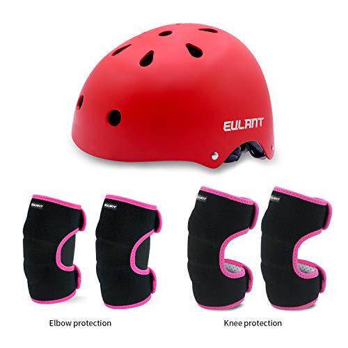 EULANT Helm Protektoren Set Für Kinder, Kinder Scooter Hoverboard BMX Bike Helm, Ellenbogenschützer, Knieschoner, Kinder Sport-Schutzausrüstung für Skate Fahrrad Radfahren Reiten Roller,Ros/Rot,M