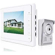 "Elenxs 7"" LCD Videoportero vídeo Intercom timbre de puerta Interfono Timbre Intercomunicador Home Security IR Visión Nocturna Cámara Lluvia resistente al"