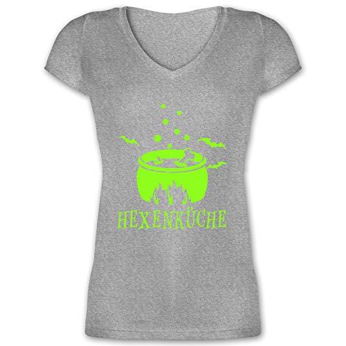 Küche - Hexenküche - L - Grau meliert - XO1525 - Damen T-Shirt mit V-Ausschnitt